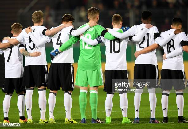 Players of Germany take a minute of silence in tribute of the London attack during the U21 international friendly match between Germany and England...