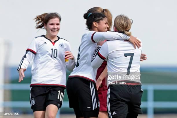 Players of Germany U16 Girls Pauline Berning Shekiera Martinez Pauline Wimmer celebrating their goal during the match between U16 Girls Portugal v...
