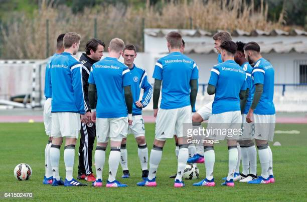 Players of Germany U17 at warm up pratice before the game during the 40º Algarve International Tournament U17 Match between Netherlands U17 and...