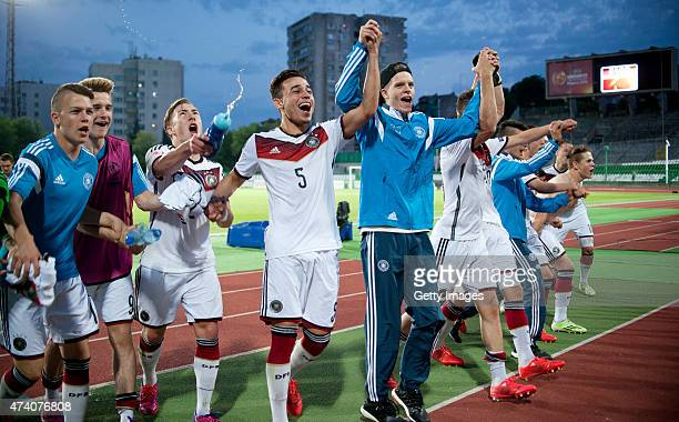 Players of Germany U17 celebrate after winning the UEFA European Under17 Championship Semi Final match between Germany U17 and Russia U17 at Beroe...