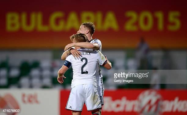 Players of Germany U17 celebrates after winning the UEFA European Under17 Championship Semi Final match between Germany U17 and Russia U17 at Beroe...