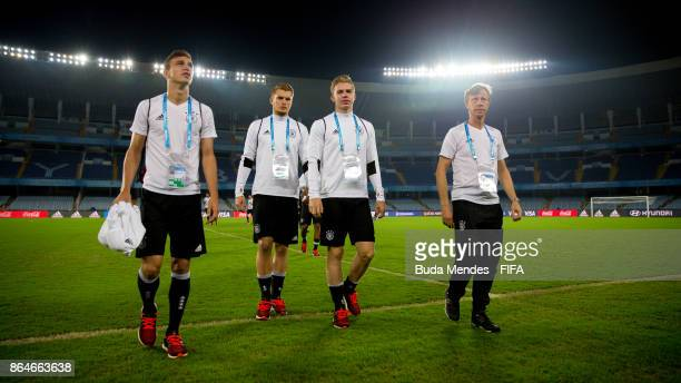 Players of Germany walk in the field during their visit of the stadium a day before the FIFA U17 World Cup India 2017 Quarter Final match between...