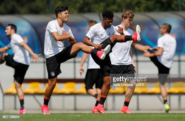 Players of Germany warm up during the MD1 training session of the U21 national team of Germany at stadium Wieliczka on June 26 2017 in Krakow Poland