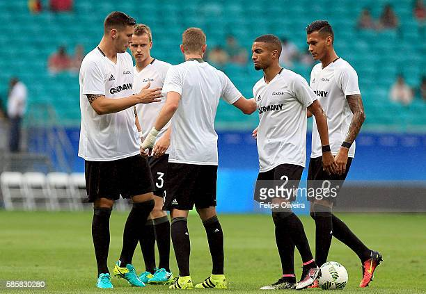 Players of Germany warm up prior to the Men's Group C first round match between Mexico and Germany during the Rio 2016 Olympic Games at Arena Fonte...
