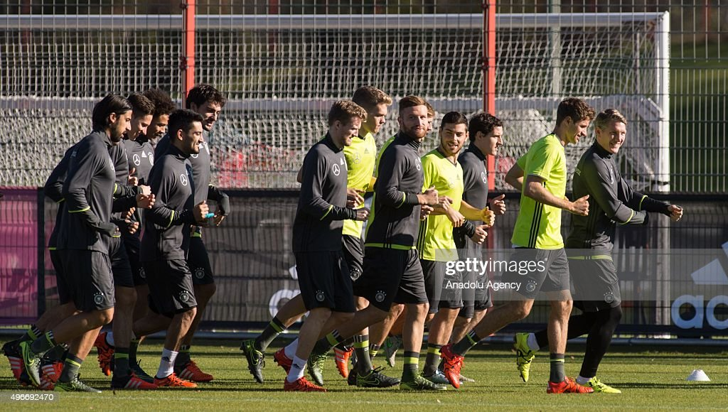 Players of Germany's national football team attend a training session of his team on November 11 2015 in Munich Germany
