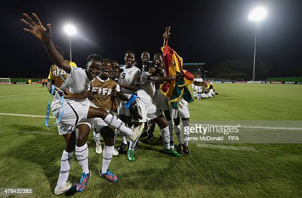 Players of Ghana celebrate victory during the FIFA U17 Women's World Cup Grroup B match between Ghana and Germany at Edgardo Baltodano Briceno on...