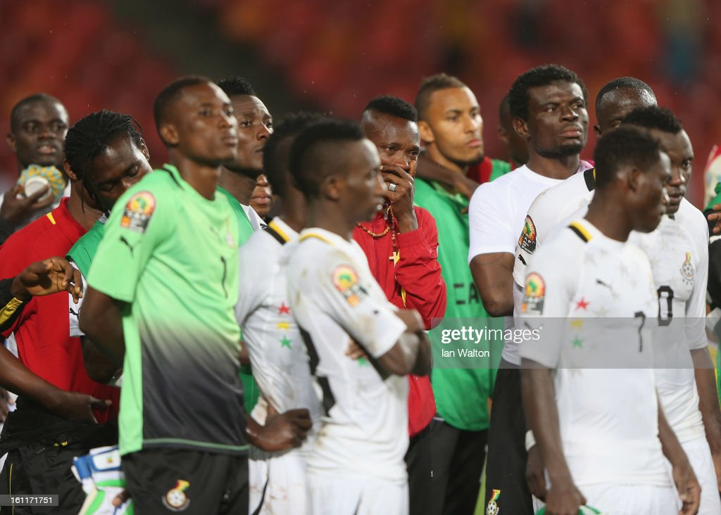 Players of Ghana look dejected after the 2013 Africa Cup of Nations Third Place Play-Off match between Mali and Ghana on February 9, 2013 in Port Elizabeth, South Africa.