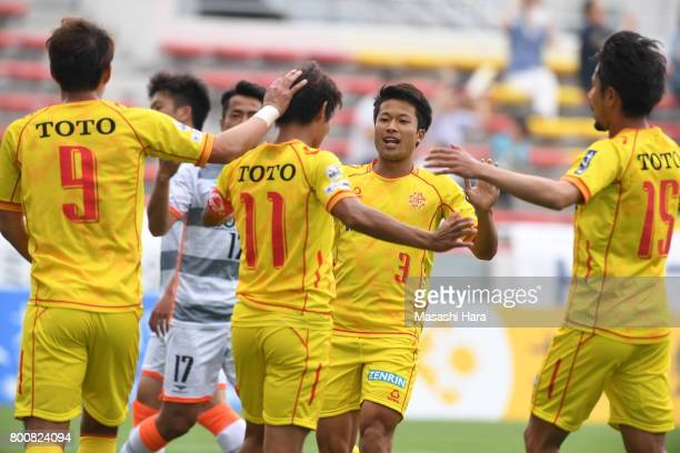 Players of Giravanz Kitakyushu celebrate the first goal during the JLeague J3 match between Giravanz Kitakyushu and AC Nagano Parceiro at Mikuni...