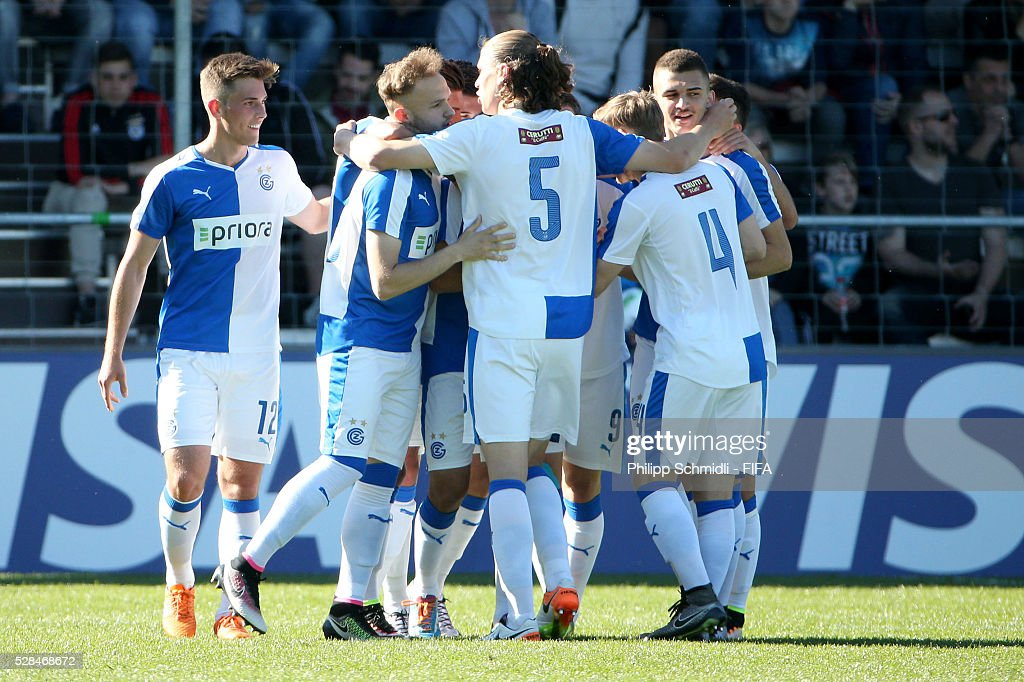 Players of Grasshopper Club Zurich celebrate their opening goal during the FIFA Blue Stars 2016/FIFA Youth Cup final match between Grasshopper Club Zurich and West Ham United FC on May 5, 2016 in Zurich, Switzerland.