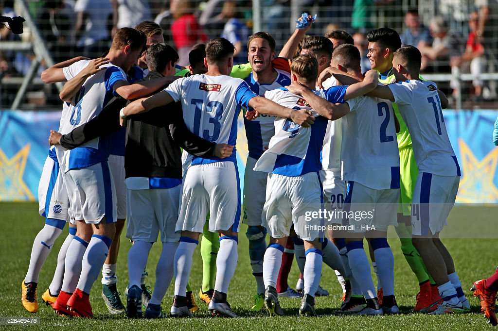 Players of Grasshopper Club Zurich celebrate victory after the FIFA Blue Stars 2016/FIFA Youth Cup final match between Grasshopper Club Zurich and West Ham United FC on May 5, 2016 in Zurich, Switzerland.