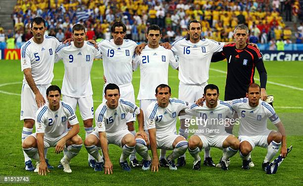 Players of Greece line up prior to the UEFA EURO 2008 Group D match between Greece and Sweden at Stadion WalsSiezenheim on June 10 2008 in Salzburg...