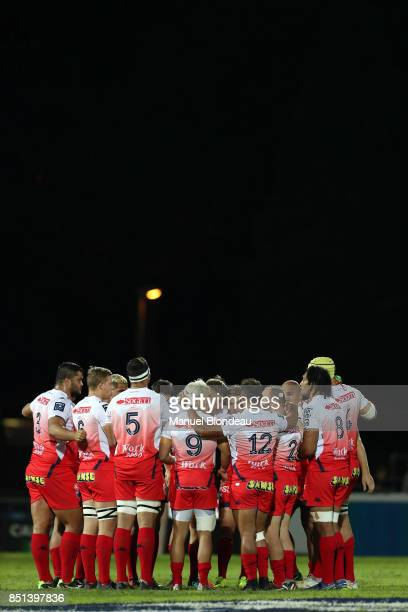 Players of Grenoble during the French Pro D2 match between Aviron Bayonnais and Grenoble on September 21 2017 in Bayonne France