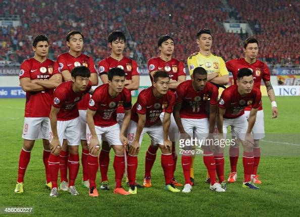 Players of Guangzhou Evergrande pose for group photo during the AFC Asian Champions League match between Guangzhou Evergrande and Yokohama F Marinos...