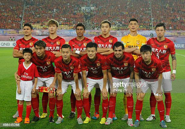Players of Guangzhou Evergrande pose for group photo the Asian Champions League Final 2nd leg Match between Guangzhou Evergrande and Al Ahli at...