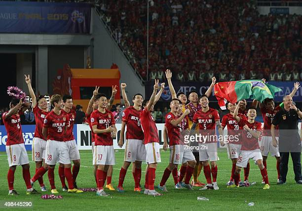 Players of Guangzhou Evergrande react by dancing after winning the Asian Champions League Final 2nd leg Match between Guangzhou Evergrande and Al...