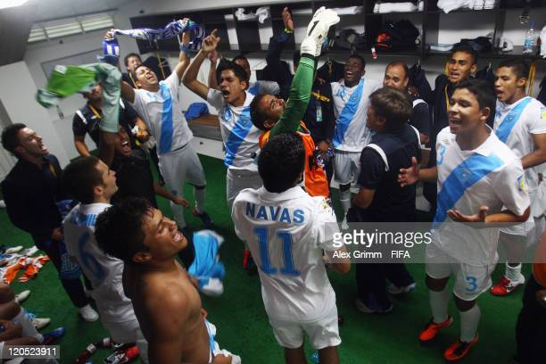 Players of Guatemala celebrate after the FIFA U20 World Cup 2011 Group D match between Croatia and Guatemala at Estadio Centenario on August 6 2011...