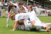Players of Guetersloh celebrate the goal of Marie Schroeder during U17 Girl's German Championship semi final first leg at Schoenbergstadion on June 4...