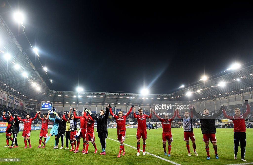 Players of Hamburg celebrate after winning the Bundesliga match between SC Paderborn 07 and Hamburger SV at Benteler Arena on February 4 2015 in...