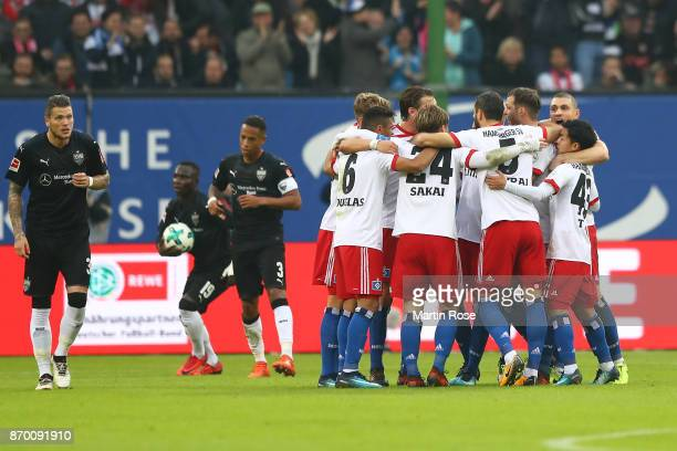 Players of Hamburg celebrate their first goal scored by Aaron Hunt of Hamburg to make it 10 during the Bundesliga match between Hamburger SV and VfB...