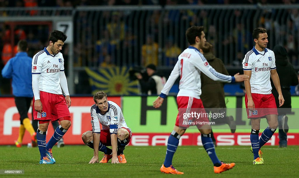 Players of Hamburg react after the Bundesliga match between Eintracht Braunschweig and Hamburger SV at Eintracht Stadion on February 15, 2014 in Braunschweig, Germany.