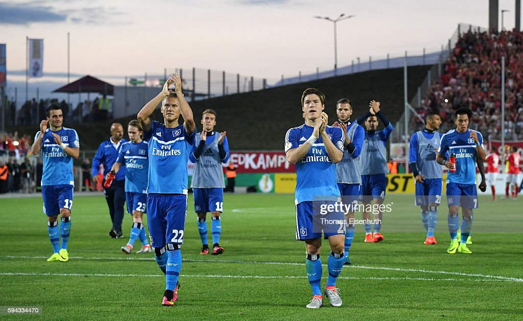 Players of Hamburg react after the DFB Cup match between FSV Zwickau and Hamburger SV at Stadion Zwickau on August 22, 2016 in Zwickau, Germany.