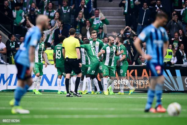 Players of Hammarby IF celebrates after Romulo Pereira Pinto scores 21 during the Allsvenskan match between Hammarby IF and Djurgardens IF at Tele2...