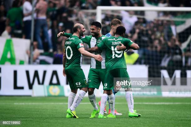 Players of Hammarby IF celebrates after the scoring 31 during the Allsvenskan match between Hammarby IF and Djurgardens IF at Tele2 Arena on June 4...