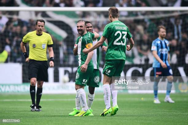 Players of Hammarby IF celebrates after the victory during the Allsvenskan match between Hammarby IF and Djurgardens IF at Tele2 Arena on June 4 2017...