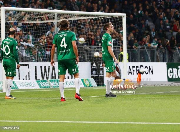 Players of Hammarby IF dejected after Gudmundur Thorarinsson of IFK Norrkoping scores 02 during the Allsvenskan match between Hammarby IF and IFK...