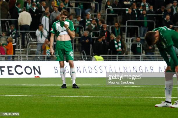 Players of Hammarby IF dejected after the Allsvenskan match between Hammarby IF and IFK Norrkoping at Tele2 Arena on October 1 2017 in Stockholm...