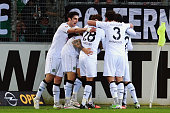 Players of Hannover celebrate their teams second goal during the Bundesliga match between SC Freiburg and Hannover 96 at SchwarzwaldStadion on...