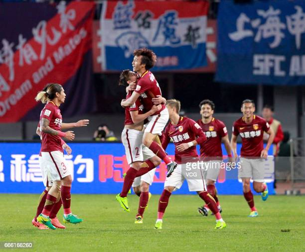 Players of Hebei China Fortune FC celebrate a point during the 4th round match of China Super League between Hebei China Fortune FC and Shanghai...