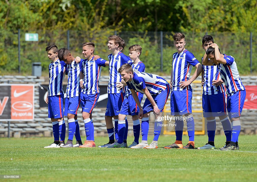 players of Hertha BSC During the C-juniors cup match between 1 FC Union Berlin and Hertha BSC on May 5, 2016 in Berlin, Germany.