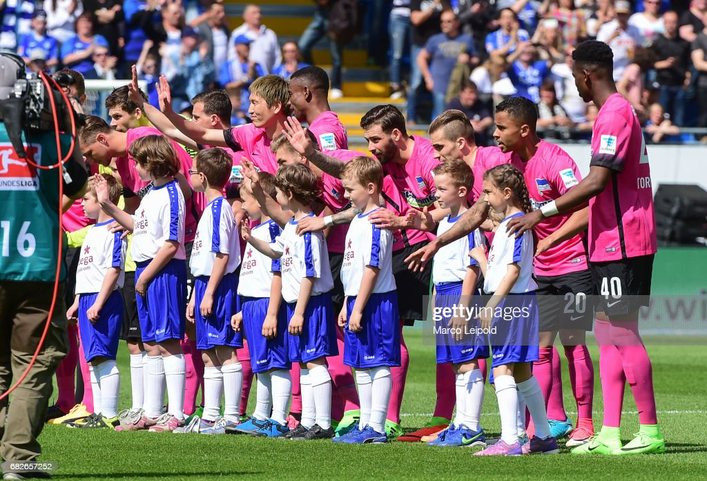 players of Hertha BSC with children before the game between SV Darmstadt 98 and Hertha BSC on may 13, 2017 in Darmstadt, Germany.