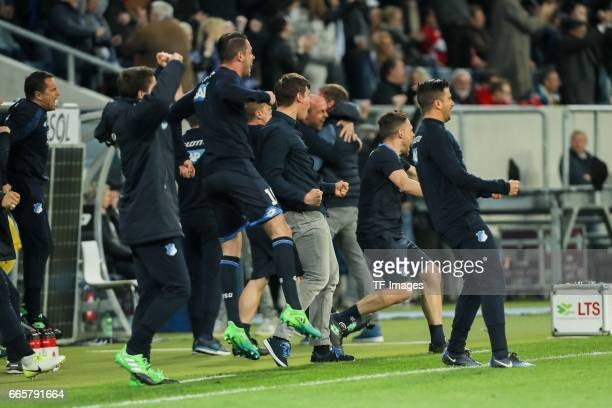 Players of Hoffenheim celebrate a goal during the Bundesliga match between TSG 1899 Hoffenheim and Bayern Muenchen at Wirsol RheinNeckarArena on...