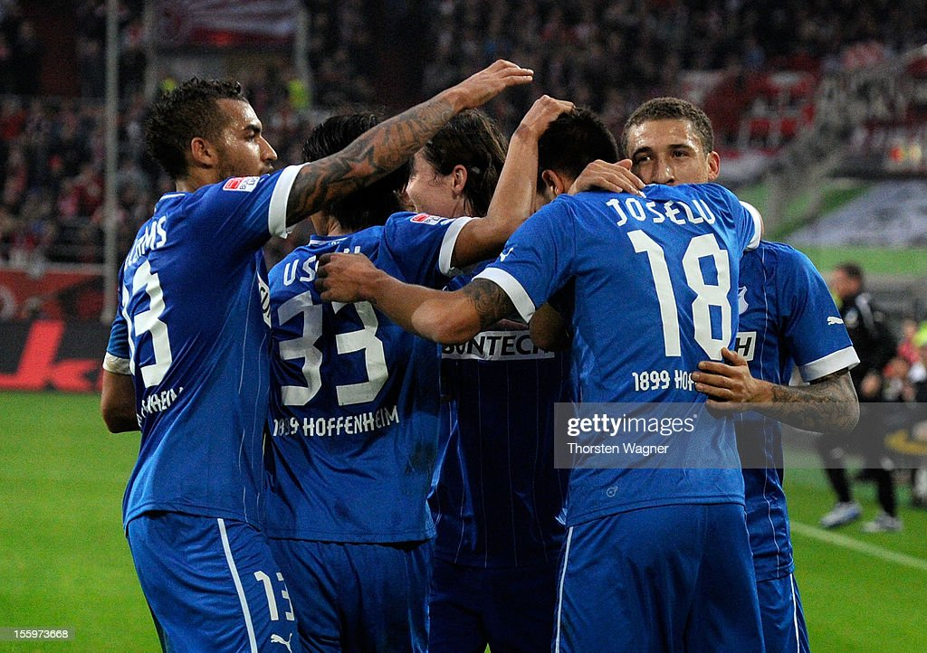 Players of Hoffenheim celebrate after Joselu is scoring his teams first goal during the Bundesliga march between Fortuna Duesseldorf and TSG 1899 Hoffenheim at Esprit-Arena on November 10, 2012 in Duesseldorf, Germany.