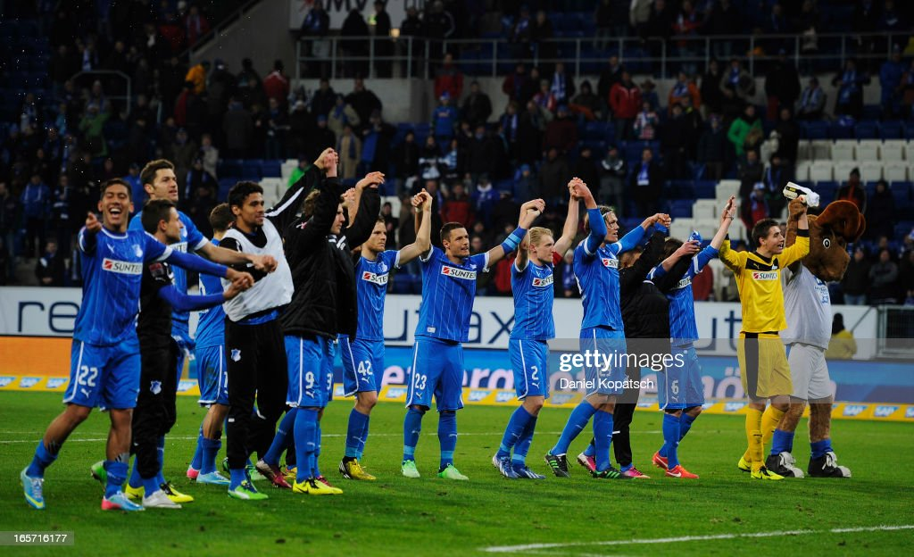 Players of Hoffenheim celebrate after the Bundesliga match between TSG 1899 Hoffenheim and Fortuna Duesseldorf 1895 at Rhein-Neckar-Arena on April 5, 2013 in Sinsheim, Germany.