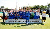 Players of Hoffenheim celebrate after winning the championship after the BJuniors final match between TSG 1899 Hoffenheim and Borussia Dortmund at...
