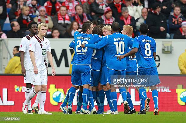 Players of Hoffenheim celebrate the goal of Sebastian Rudy during the Bundesliga match between 1899 Hoffenheim and 1 FC Kaiserslautern at RheinNeckar...