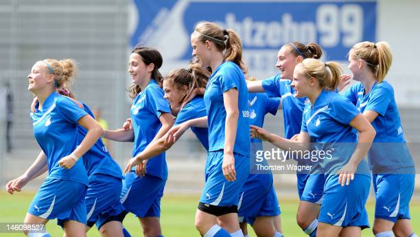 Players of Hoffenheim celebrates after Janina Meissner is scoring her teams first goal during women's bjuniors bundesliga final match between TSG...