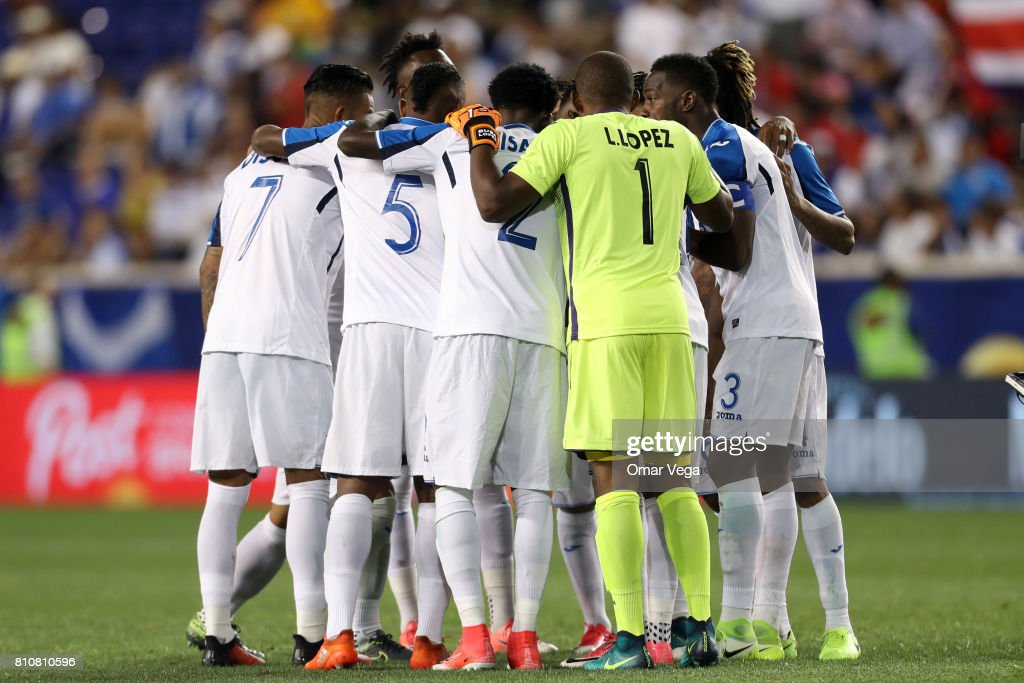 Players of Honduras gather prior the Group A match between Honduras and Costa Rica as part of the Gold Cup 2017 at Red Bull Arena on July 07, 2017 in Harrison, New Jersey.