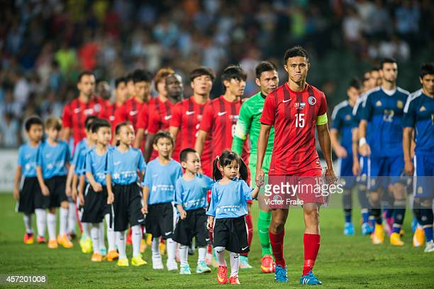 Players of Hong Kong before the International Friendly Match between Hong Kong and Argentina at the Hong Kong Stadium on October 14 2014 in Hong Kong...