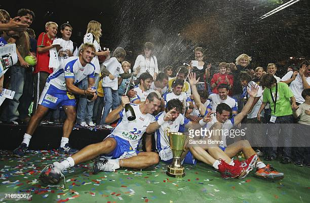 Players of HSV celebrate winning the Super Cup game against THW Kiel at the Olympic Hall on August 22 2006 in Munich Germany