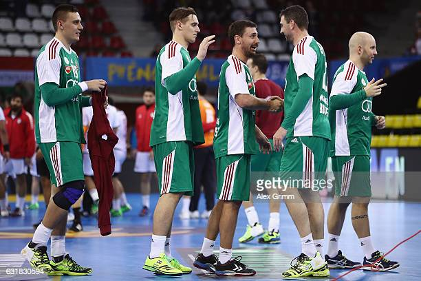 Players of Hungary celebrate after the 25th IHF Men's World Championship 2017 match between Hungary and Chile at Kindarena on January 16 2017 in...