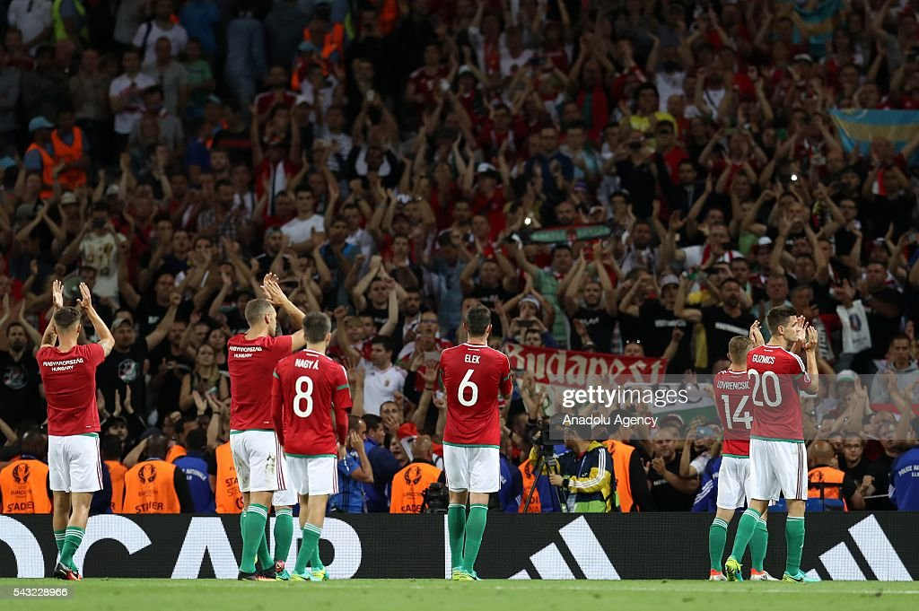 Players of Hungary greet their supporters after the UEFA Euro 2016 round of 16 football match between Hungary and Belgium at Stadium Municipal in Toulouse, France on June 26, 2016.