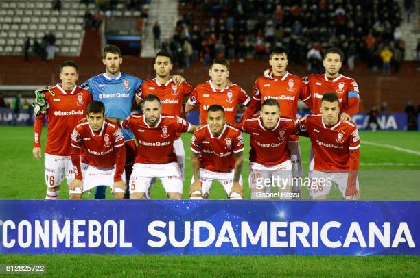Players of Huracan pose for a photo prior the first leg match between Huracan and Libertad as part of second round of Copa Conmebol Sudamericana 2017...
