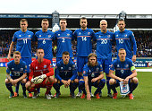 Players of Iceland pose for a photograph during the UEFA EURO 2016 Qualifier match between Iceland and Latvia at Laugardalsvollur National Stadium on...