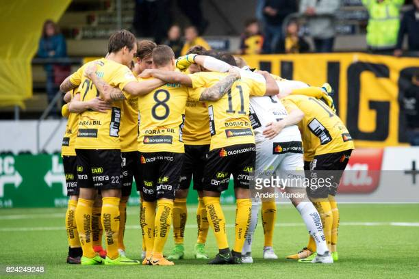 Players of IF Elfsborg catering prior to the Allsvenskan match between IF Elfsborg and IK Sirius FK at Boras Arena on July 29 2017 in Boras Sweden