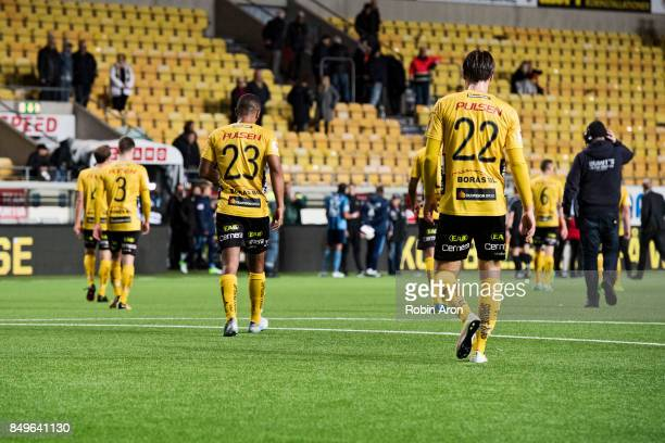 Players of IF Elfsborg dejected after the Allsvenskan match between IF Elfsborg and Djurgardens IF at Boras Arena on September 19 2017 in Boras Sweden