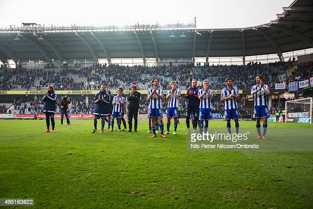 Players of IFK Goteborg after the match between IFK Goteborg and Kalmar FF at Gamla Ullevi on October 31 2015 in Gothenburg Sweden